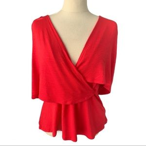Deletta Anthropologie Red Ruffle Blouse